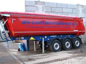 Containerbeschriftung mit blauer Folienschrift auf einem Mulde für die Container und Schüttgut Firma AS-Container in Grevenbroich Industriegebiet.